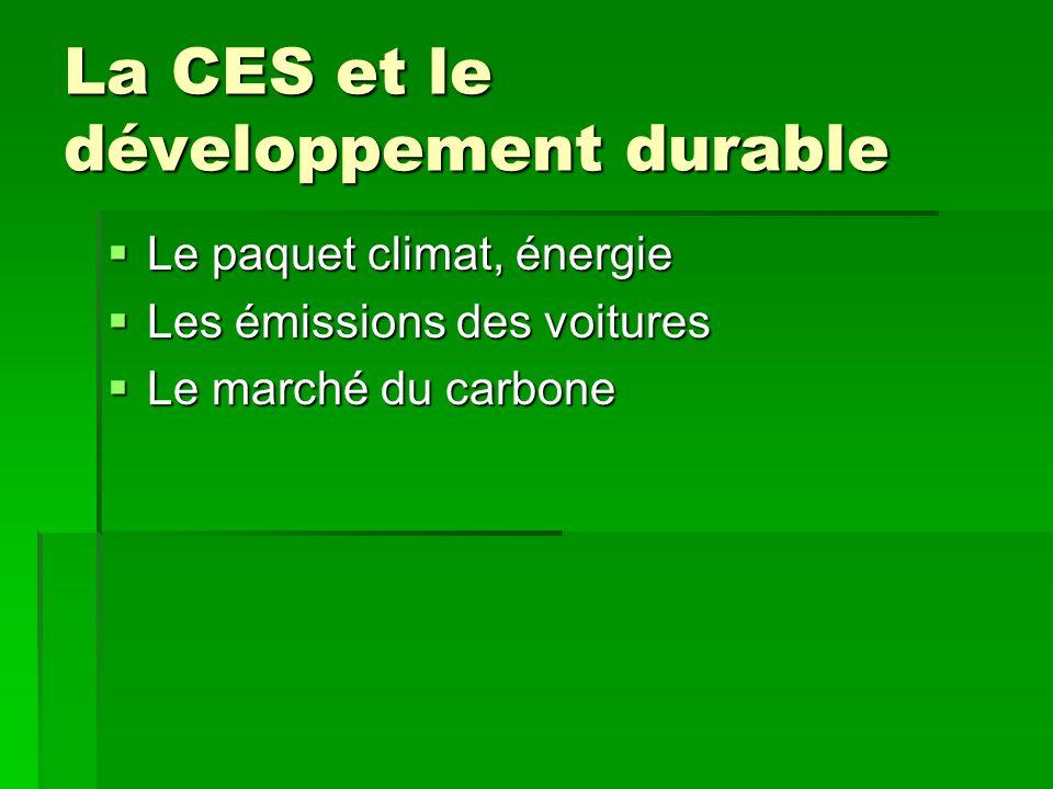 La CES et le développement durable Le paquet climat, énergie Le paquet climat, énergie Les émissions des voitures Les émissions des voitures Le marché du carbone Le marché du carbone