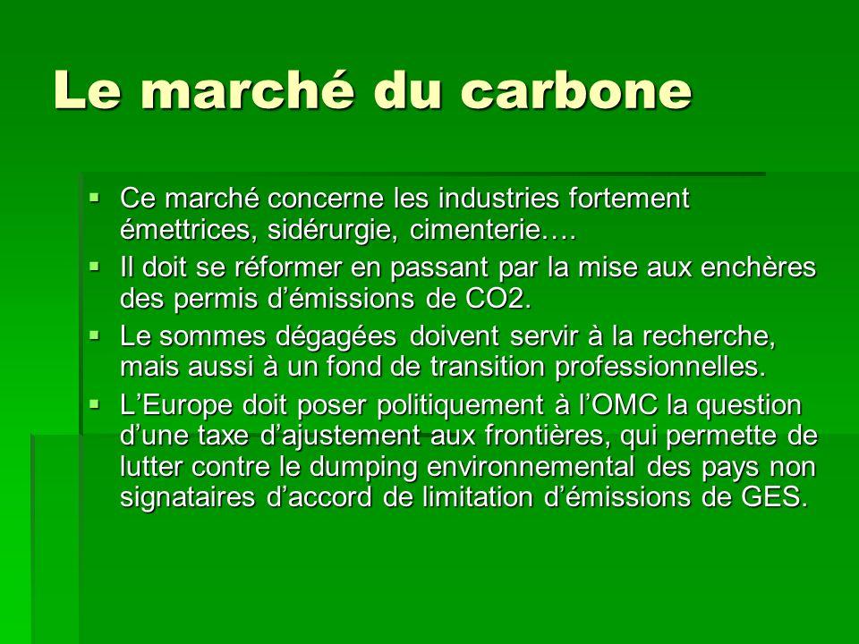 Le marché du carbone Ce marché concerne les industries fortement émettrices, sidérurgie, cimenterie….