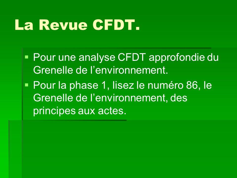 La Revue CFDT. Pour une analyse CFDT approfondie du Grenelle de lenvironnement.