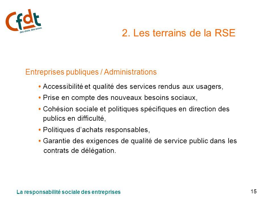 15 2. Les terrains de la RSE Entreprises publiques / Administrations Accessibilité et qualité des services rendus aux usagers, Prise en compte des nou