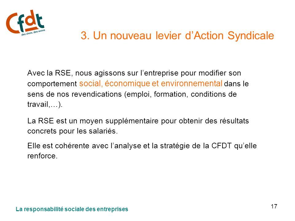 17 3. Un nouveau levier dAction Syndicale Avec la RSE, nous agissons sur lentreprise pour modifier son comportement social, économique et environnemen