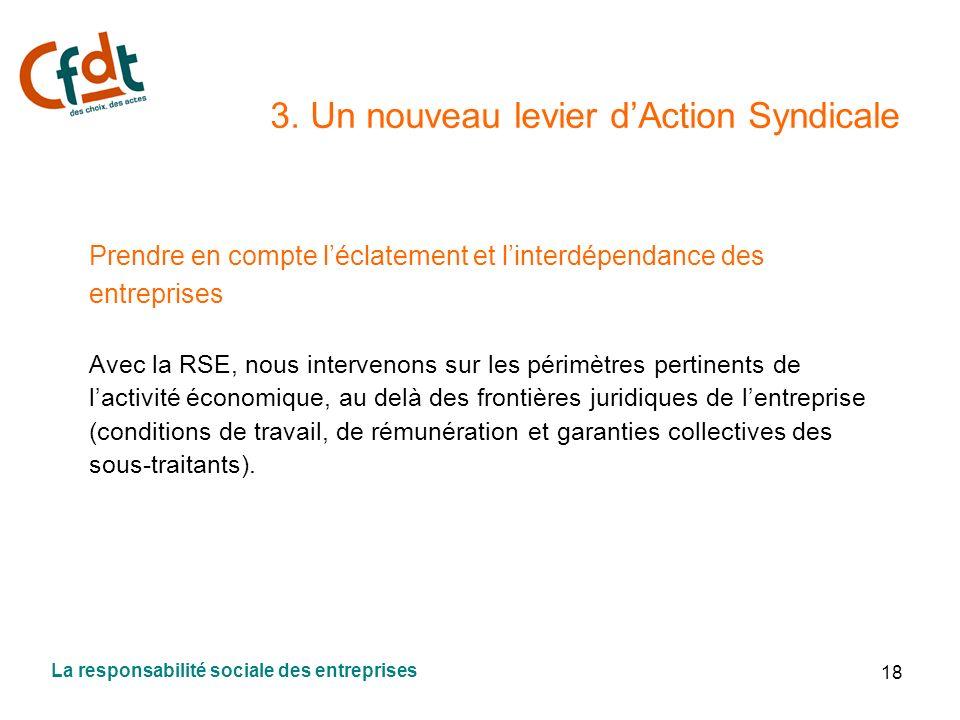 18 3. Un nouveau levier dAction Syndicale Prendre en compte léclatement et linterdépendance des entreprises Avec la RSE, nous intervenons sur les péri