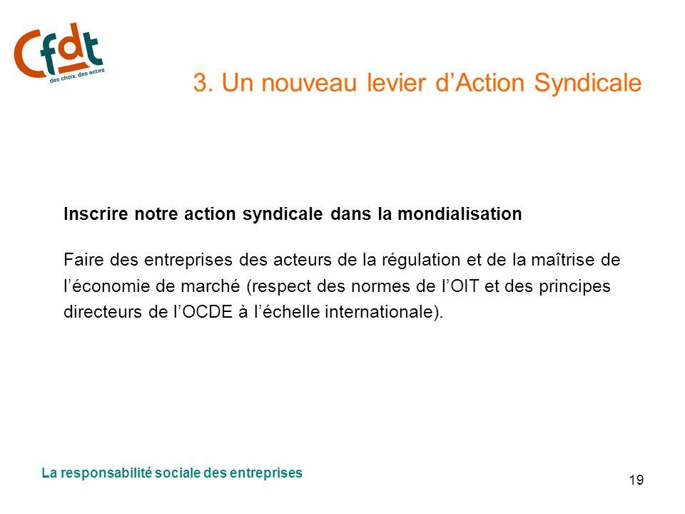 19 3. Un nouveau levier dAction Syndicale Inscrire notre action syndicale dans la mondialisation Faire des entreprises des acteurs de la régulation et