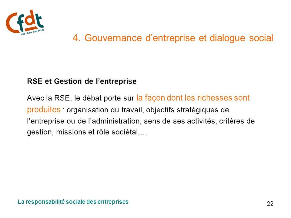 22 4. Gouvernance dentreprise et dialogue social RSE et Gestion de lentreprise Avec la RSE, le débat porte sur la façon dont les richesses sont produi