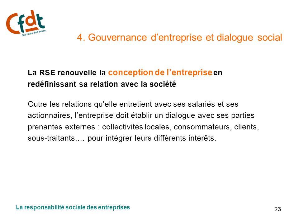23 4. Gouvernance dentreprise et dialogue social La RSE renouvelle la conception de lentreprise en redéfinissant sa relation avec la société Outre les