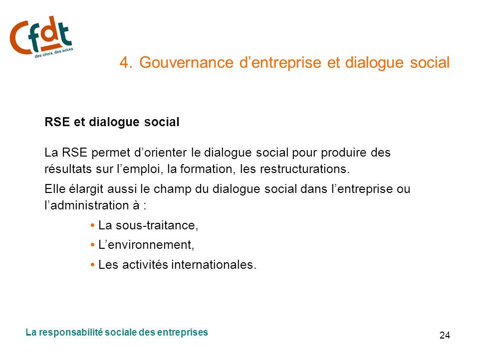 24 4. Gouvernance dentreprise et dialogue social RSE et dialogue social La RSE permet dorienter le dialogue social pour produire des résultats sur lem