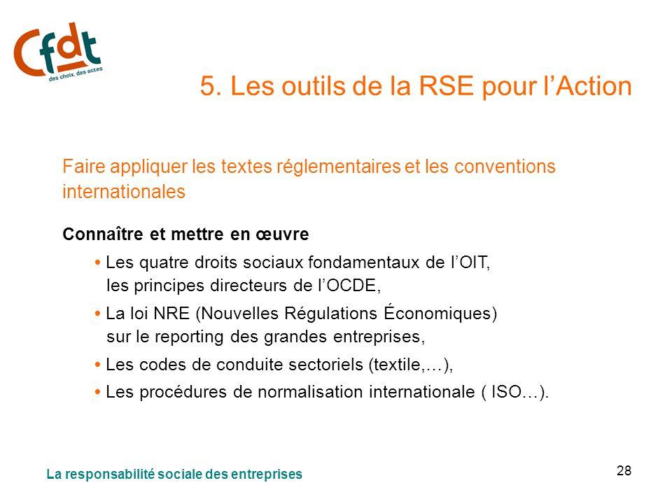 28 5. Les outils de la RSE pour lAction Faire appliquer les textes réglementaires et les conventions internationales Connaître et mettre en œuvre Les