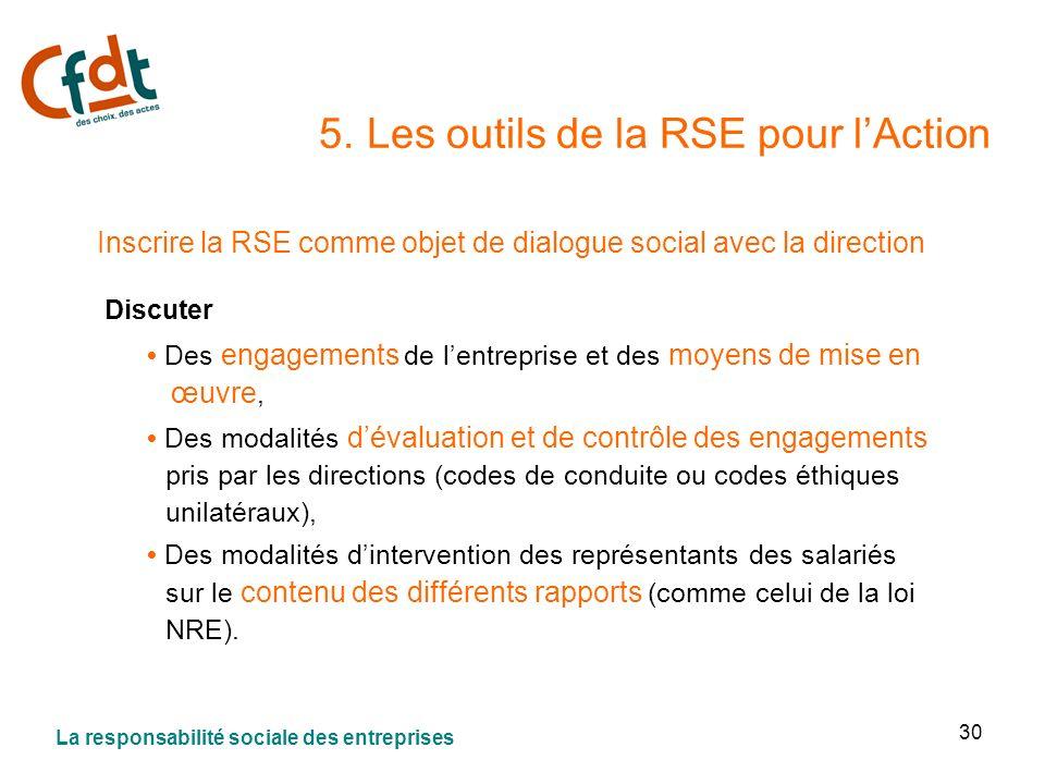 30 5. Les outils de la RSE pour lAction Inscrire la RSE comme objet de dialogue social avec la direction Discuter Des engagements de lentreprise et de