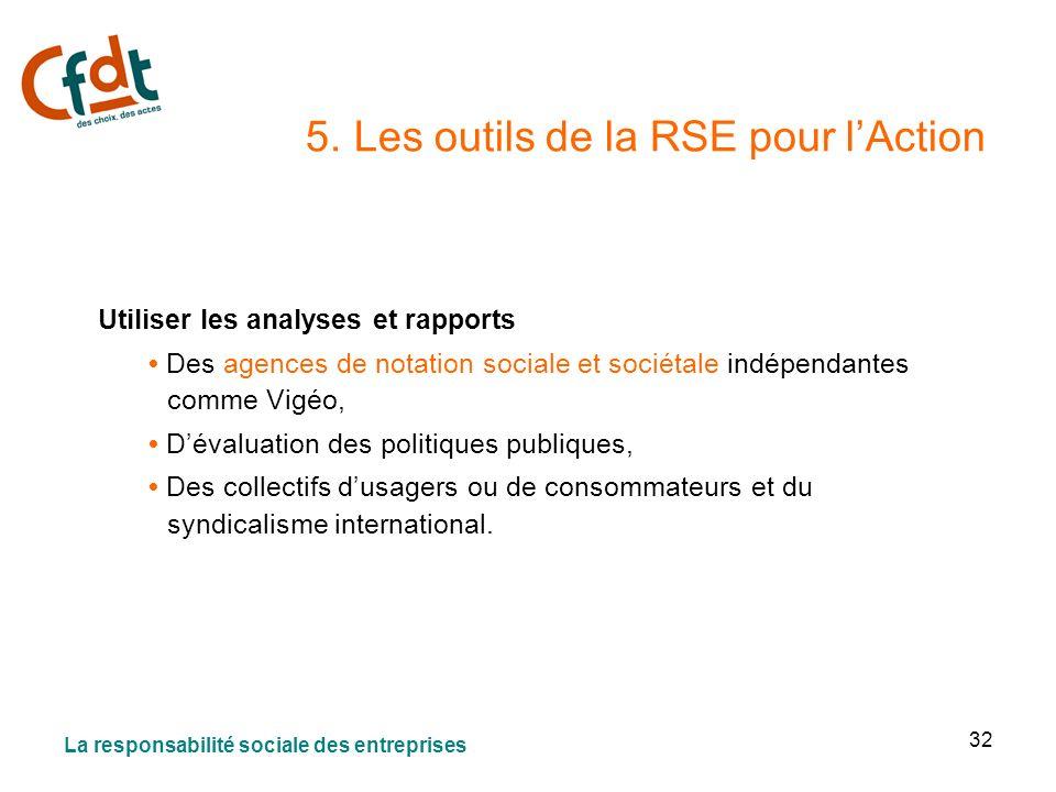 32 5. Les outils de la RSE pour lAction Utiliser les analyses et rapports Des agences de notation sociale et sociétale indépendantes comme Vigéo, Déva