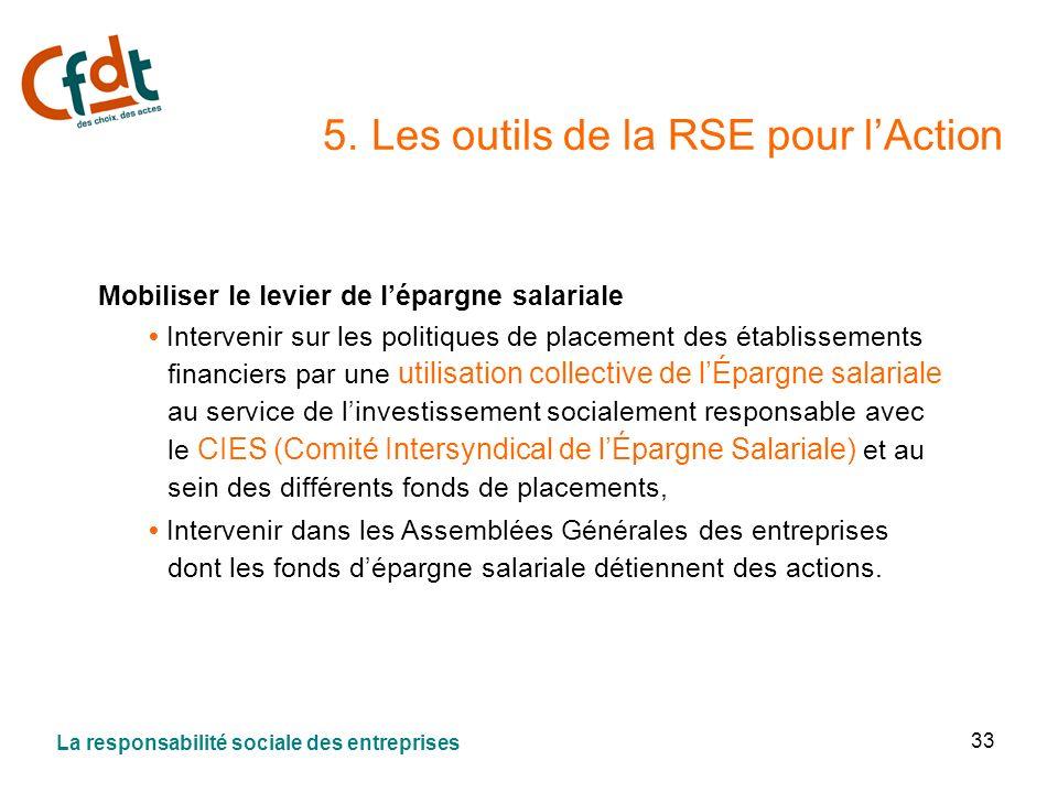 33 5. Les outils de la RSE pour lAction Mobiliser le levier de lépargne salariale Intervenir sur les politiques de placement des établissements financ
