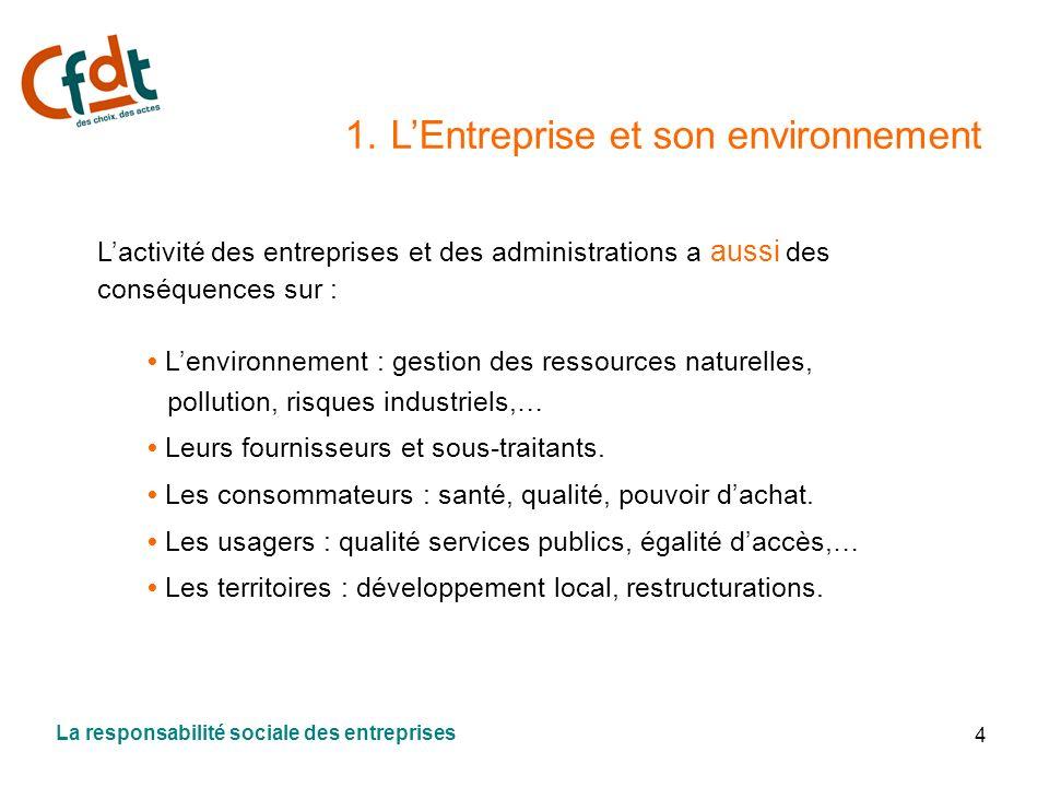 4 1. LEntreprise et son environnement Lactivité des entreprises et des administrations a aussi des conséquences sur : Lenvironnement : gestion des res