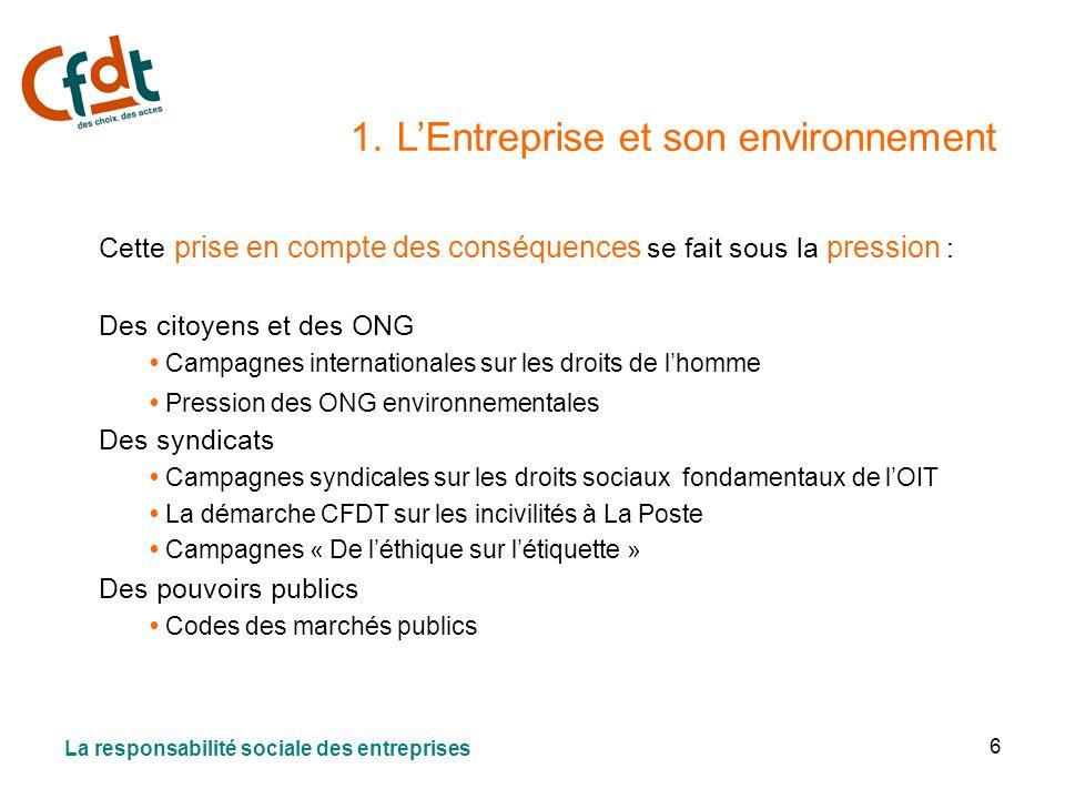 6 1. LEntreprise et son environnement Cette prise en compte des conséquences se fait sous la pression : Des citoyens et des ONG Campagnes internationa