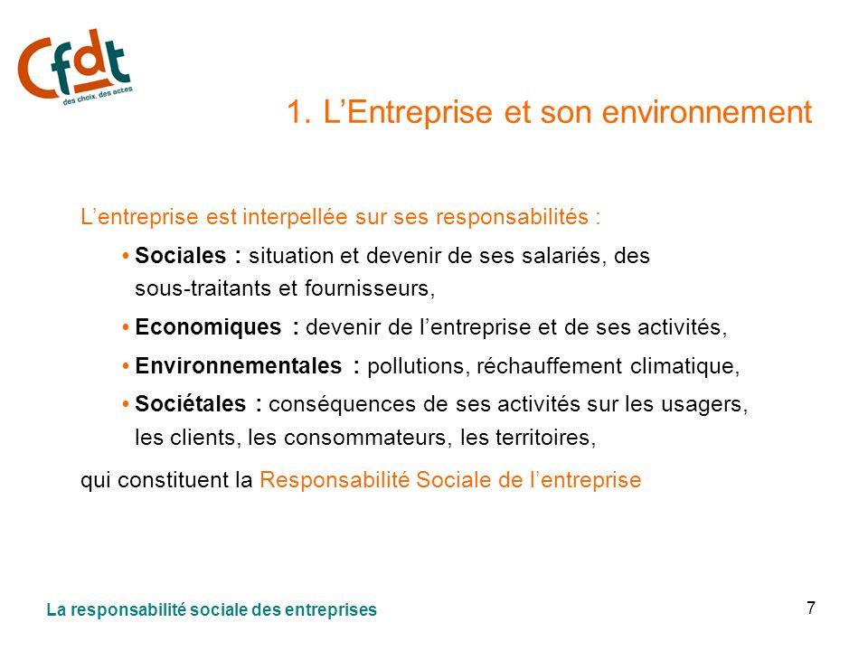 7 1. LEntreprise et son environnement Lentreprise est interpellée sur ses responsabilités : Sociales : situation et devenir de ses salariés, des sous-