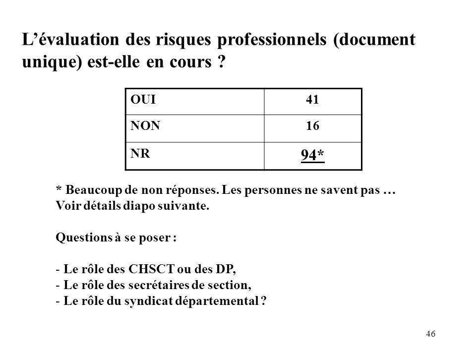 46 Lévaluation des risques professionnels (document unique) est-elle en cours ? OUI41 NON16 NR 94* * Beaucoup de non réponses. Les personnes ne savent