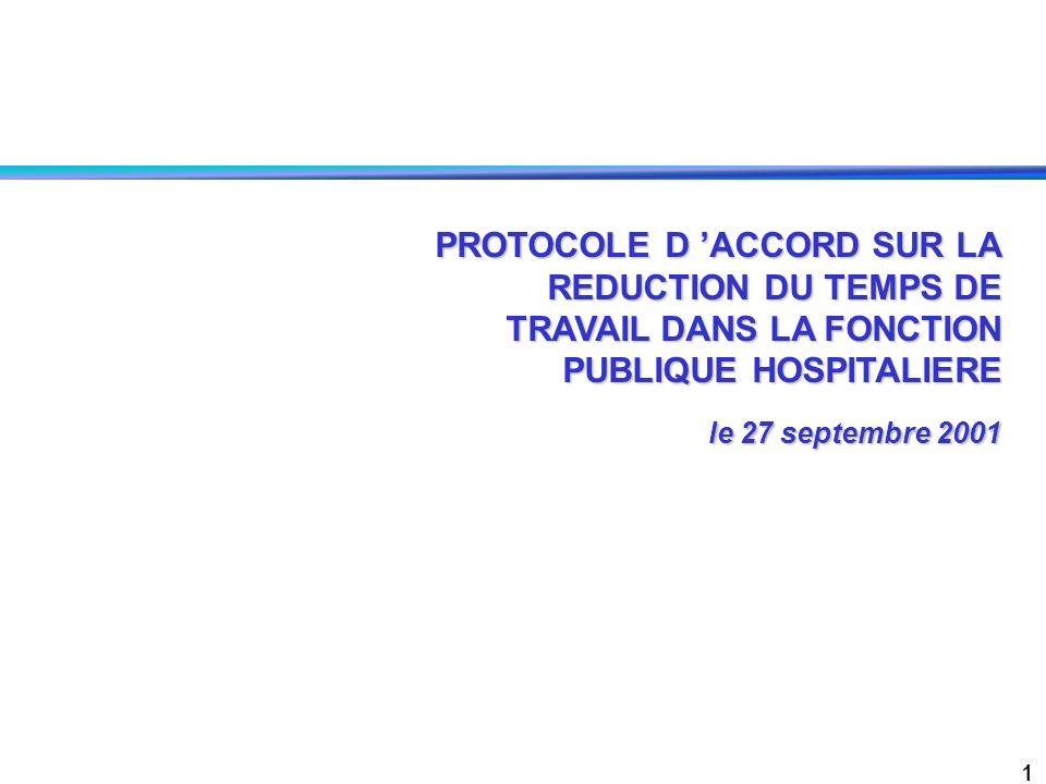 1 PROTOCOLE D ACCORD SUR LA REDUCTION DU TEMPS DE TRAVAIL DANS LA FONCTION PUBLIQUE HOSPITALIERE le 27 septembre 2001