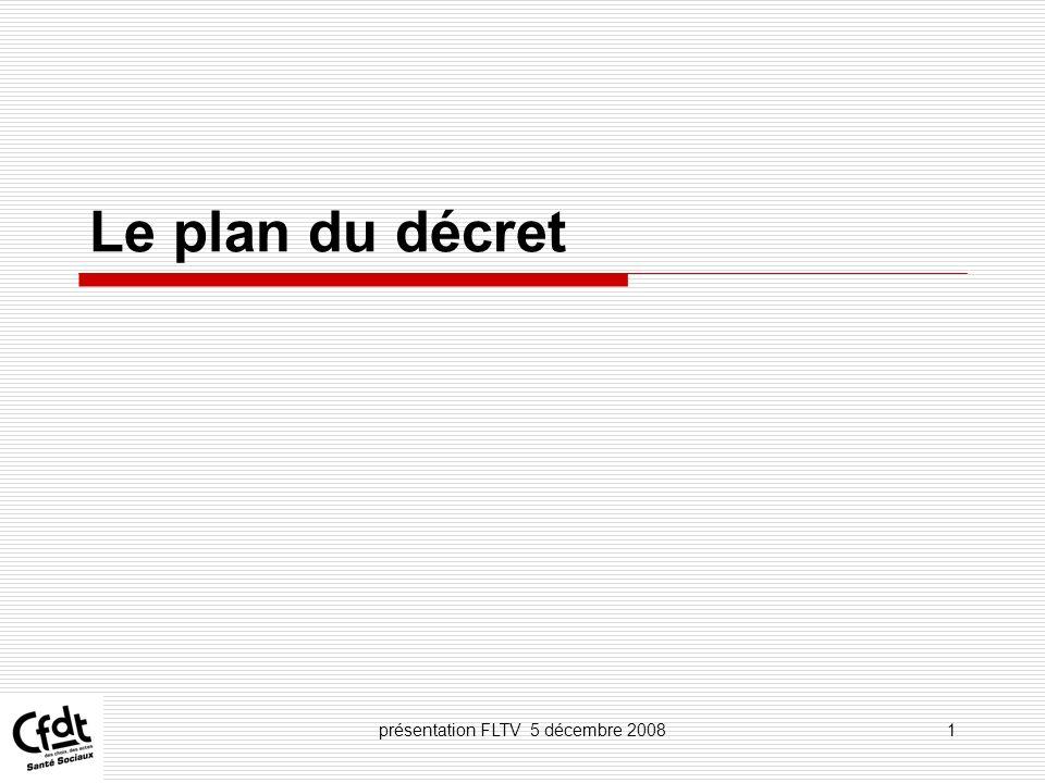 présentation FLTV 5 décembre 20082 Chapitre I er : Dispositions générales Chapitre II : Le plan de formation des établissements Chapitre III : Du droit individuel à la formation