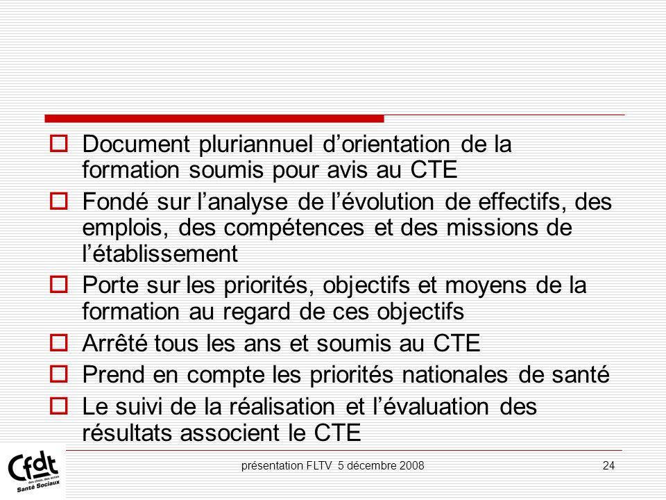 présentation FLTV 5 décembre 200824 Document pluriannuel dorientation de la formation soumis pour avis au CTE Fondé sur lanalyse de lévolution de effe