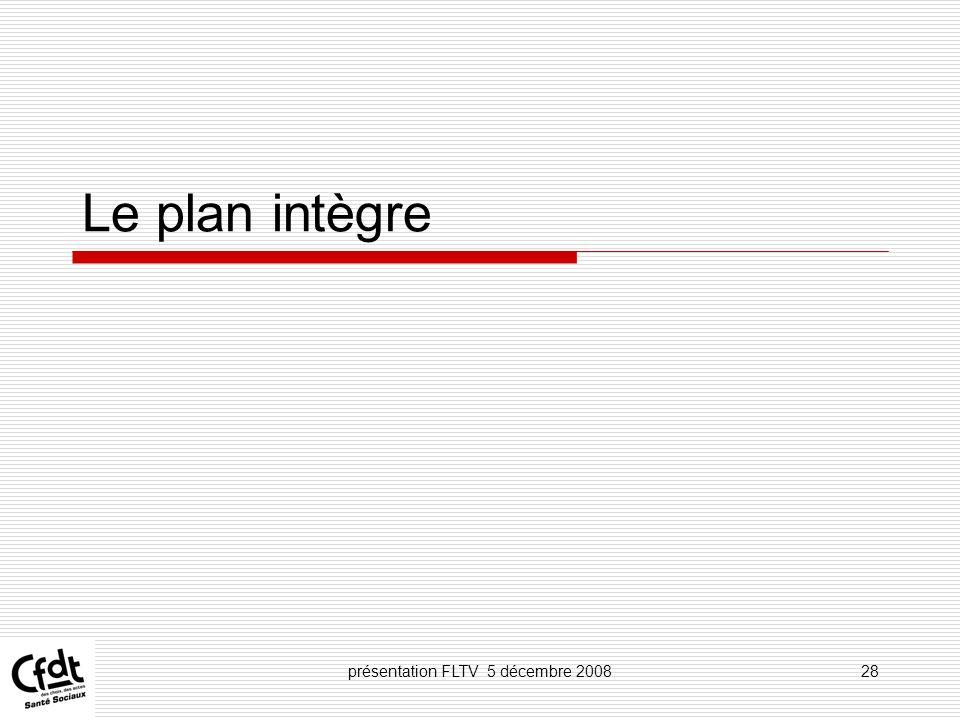 présentation FLTV 5 décembre 200828 Le plan intègre