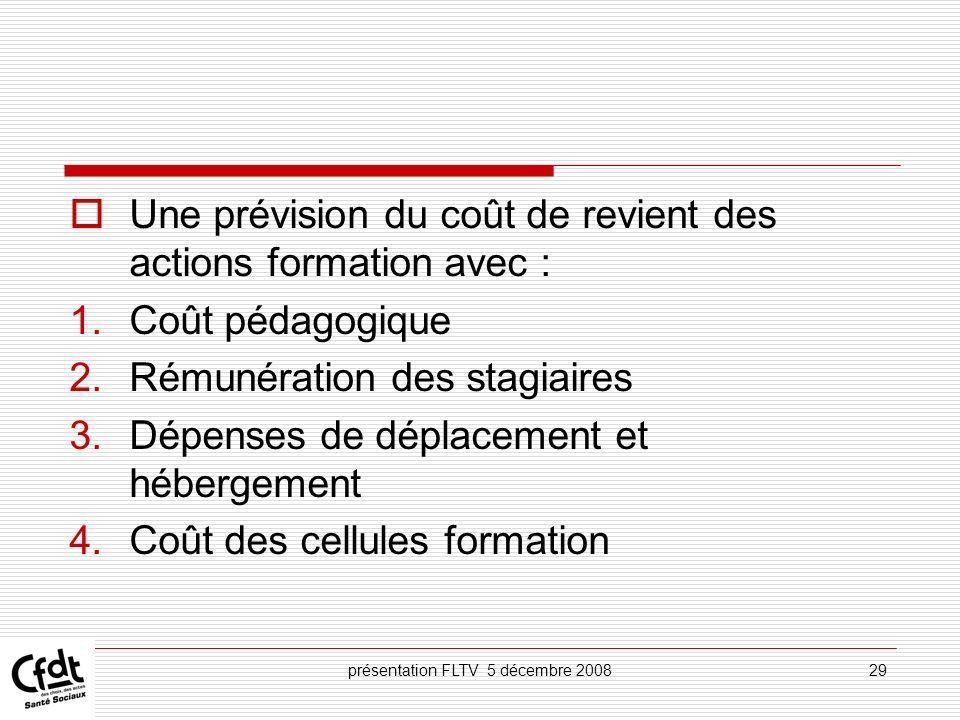 présentation FLTV 5 décembre 200829 Une prévision du coût de revient des actions formation avec : 1.Coût pédagogique 2.Rémunération des stagiaires 3.D