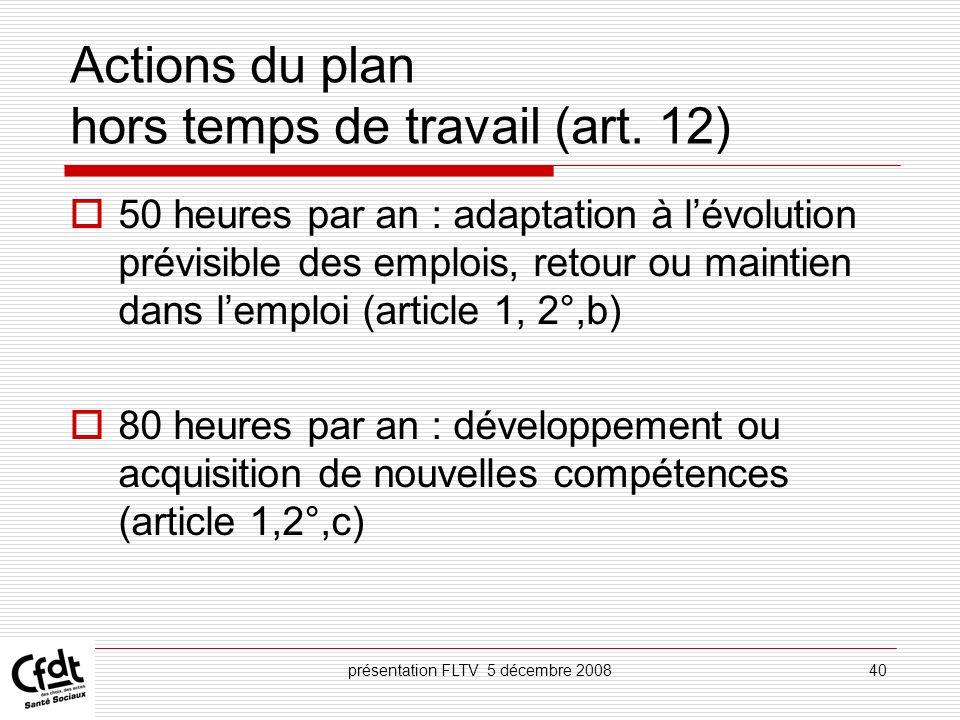 présentation FLTV 5 décembre 200840 Actions du plan hors temps de travail (art. 12) 50 heures par an : adaptation à lévolution prévisible des emplois,