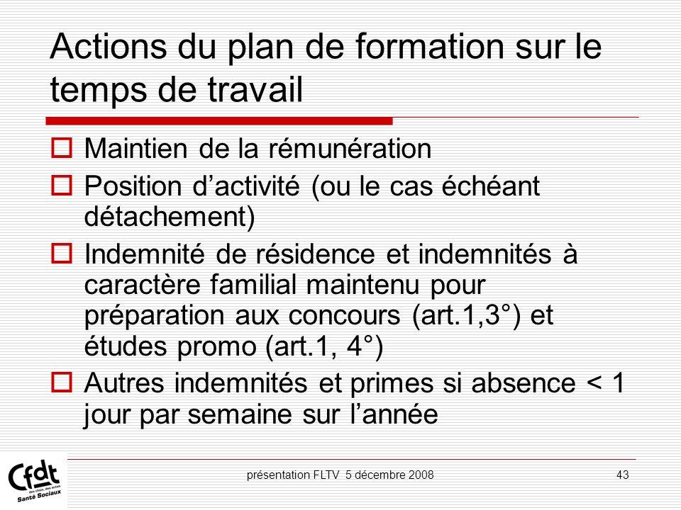 présentation FLTV 5 décembre 200843 Actions du plan de formation sur le temps de travail Maintien de la rémunération Position dactivité (ou le cas éch
