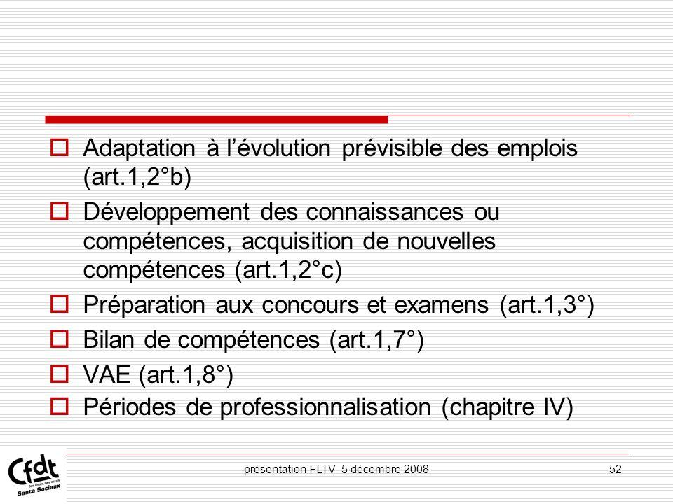 présentation FLTV 5 décembre 200852 Adaptation à lévolution prévisible des emplois (art.1,2°b) Développement des connaissances ou compétences, acquisi