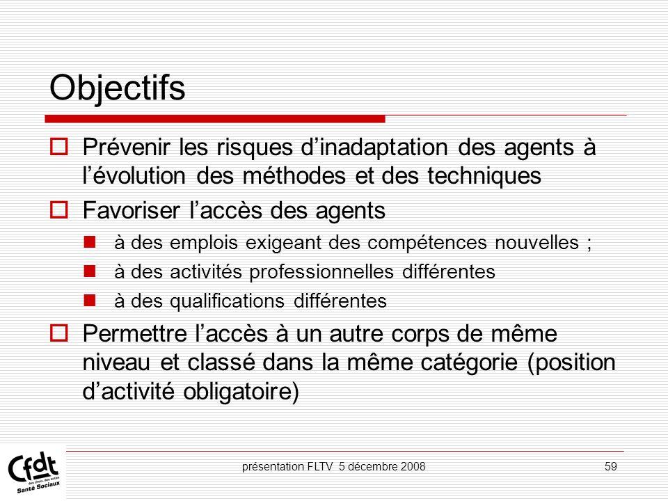 présentation FLTV 5 décembre 200859 Objectifs Prévenir les risques dinadaptation des agents à lévolution des méthodes et des techniques Favoriser lacc