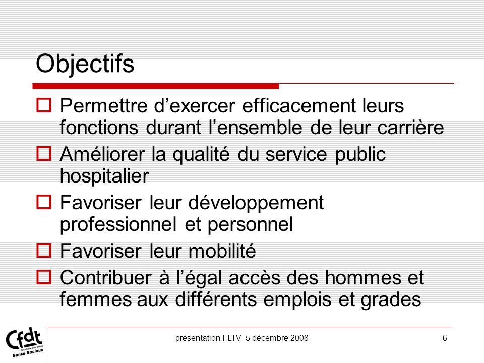 présentation FLTV 5 décembre 200817 Rappeler les suites données aux demandes de lagent Discuter des actions de formation nécessaires à lagent en fonction de ses missions et de ses perspectives professionnelles Permettre à lagent de présenter ses demandes de prépa.