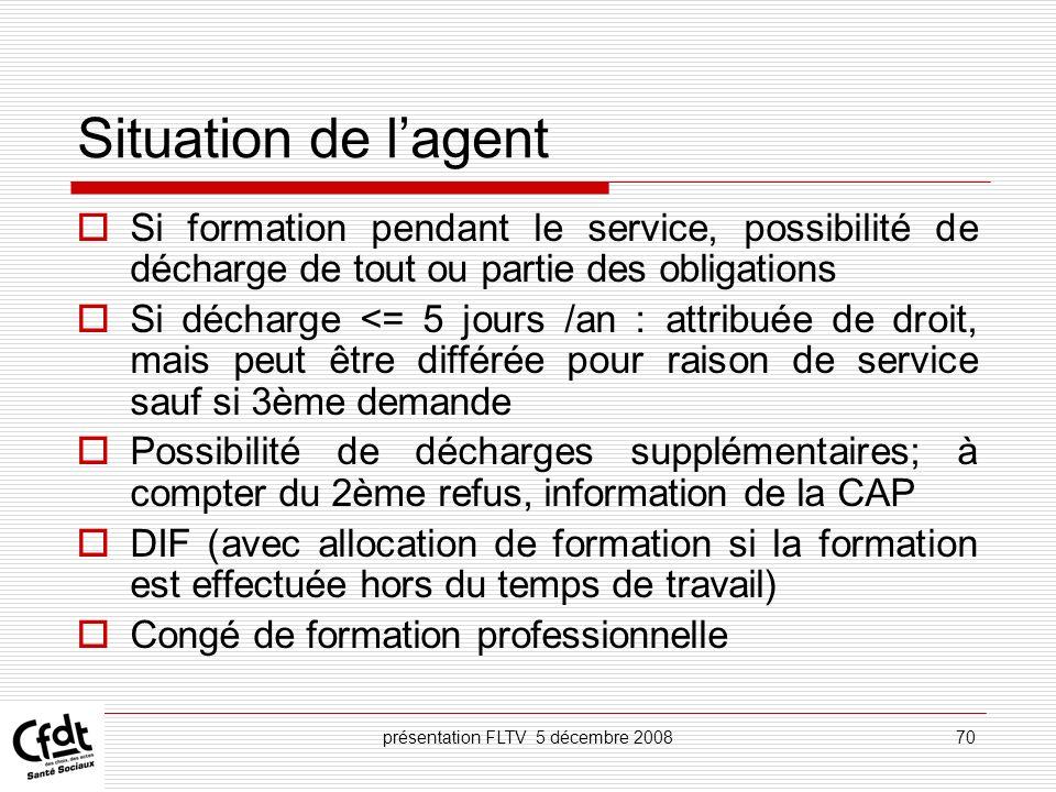 présentation FLTV 5 décembre 200870 Situation de lagent Si formation pendant le service, possibilité de décharge de tout ou partie des obligations Si