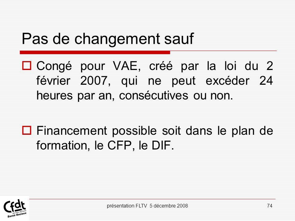 présentation FLTV 5 décembre 200874 Pas de changement sauf Congé pour VAE, créé par la loi du 2 février 2007, qui ne peut excéder 24 heures par an, co