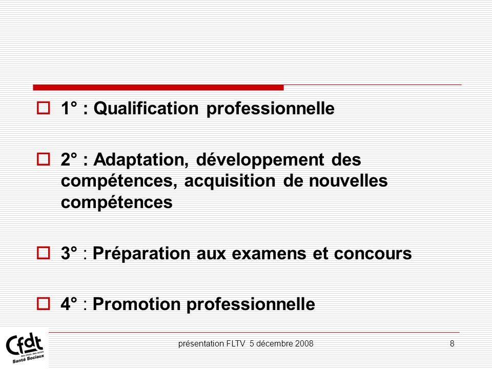 présentation FLTV 5 décembre 20089 5° : Actions de conversion 6° : Congé de formation professionnelle 7° : Bilan de compétences 8° : Validation des acquis de lexpérience