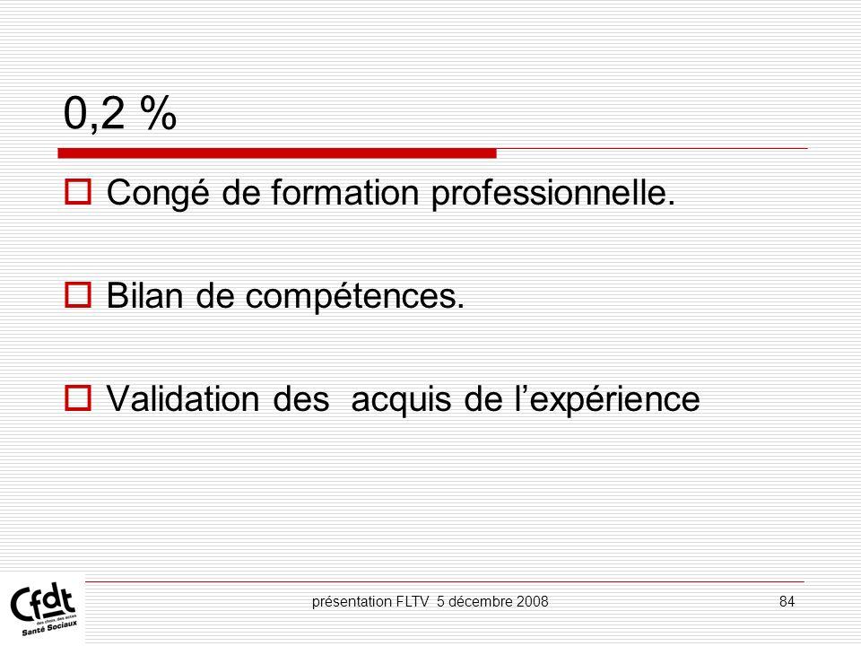 présentation FLTV 5 décembre 200884 0,2 % Congé de formation professionnelle. Bilan de compétences. Validation des acquis de lexpérience