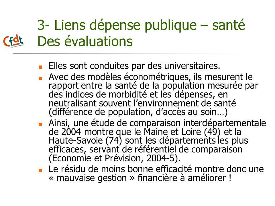 3- Liens dépense publique – santé Des évaluations Elles sont conduites par des universitaires. Avec des modèles économétriques, ils mesurent le rappor
