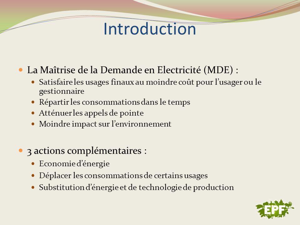 Introduction La Maîtrise de la Demande en Electricité (MDE) : Satisfaire les usages finaux au moindre coût pour lusager ou le gestionnaire Répartir le