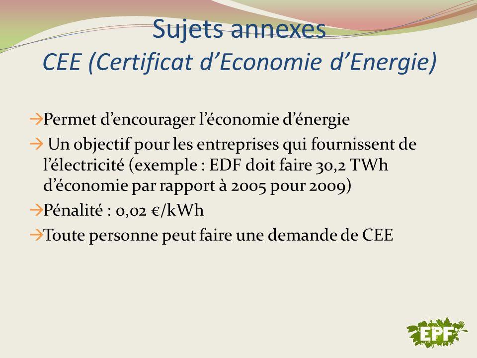 Sujets annexes CEE (Certificat dEconomie dEnergie) Permet dencourager léconomie dénergie Un objectif pour les entreprises qui fournissent de lélectric