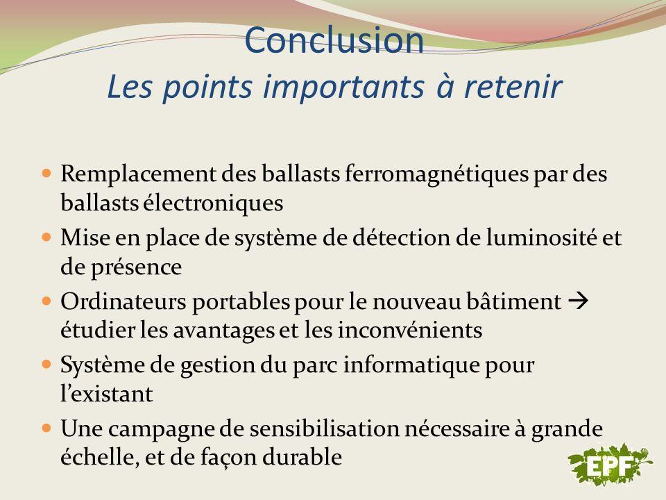 Conclusion Les points importants à retenir Remplacement des ballasts ferromagnétiques par des ballasts électroniques Mise en place de système de détec