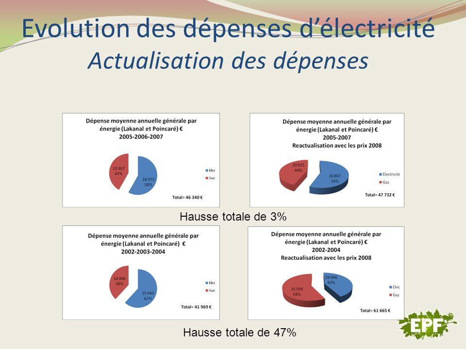 Evolution des dépenses délectricité Actualisation des dépenses Hausse totale de 3% Hausse totale de 47%