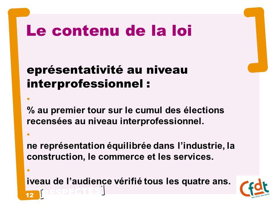 RESPECTÉS 12 Le contenu de la loi R eprésentativité au niveau interprofessionnel : 8 % au premier tour sur le cumul des élections recensées au niveau interprofessionnel.