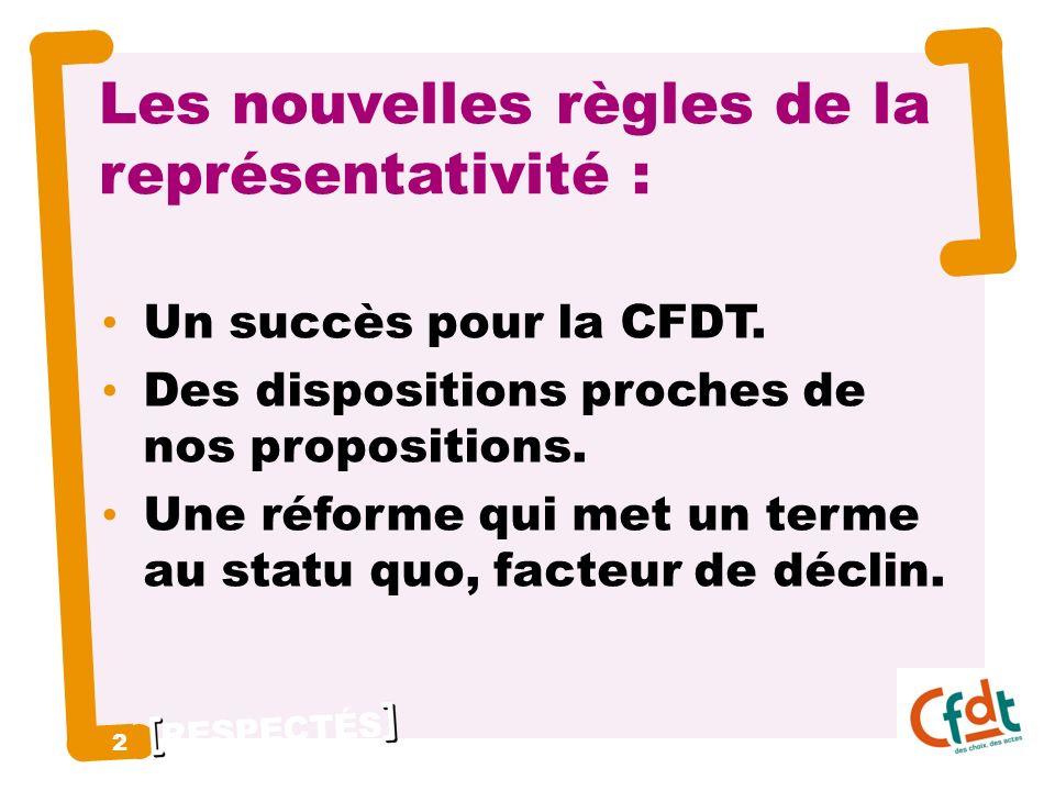 RESPECTÉS 2 2 Les nouvelles règles de la représentativité : Un succès pour la CFDT.