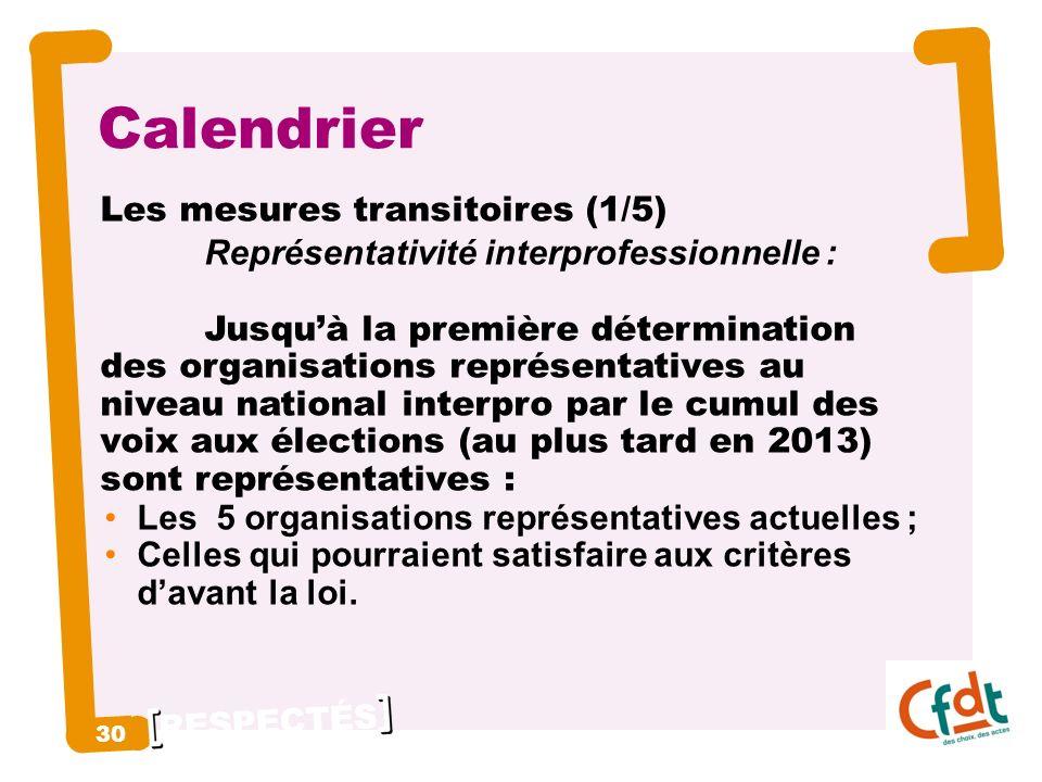 RESPECTÉS 30 Calendrier Les mesures transitoires (1/5) Représentativité interprofessionnelle : Jusquà la première détermination des organisations représentatives au niveau national interpro par le cumul des voix aux élections (au plus tard en 2013) sont représentatives : Les 5 organisations représentatives actuelles ; Celles qui pourraient satisfaire aux critères davant la loi.