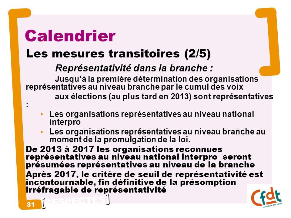 RESPECTÉS 31 Calendrier Les mesures transitoires (2/5) Représentativité dans la branche : Jusquà la première détermination des organisations représentatives au niveau branche par le cumul des voix aux élections (au plus tard en 2013) sont représentatives : Les organisations représentatives au niveau national interpro Les organisations représentatives au niveau branche au moment de la promulgation de la loi.