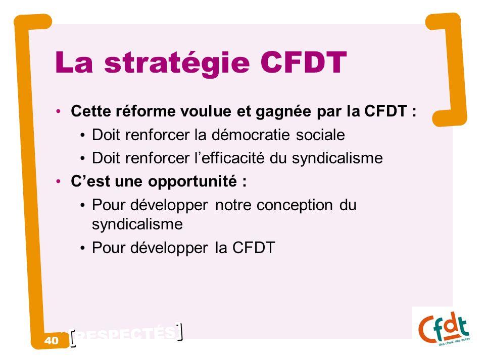 RESPECTÉS 40 La stratégie CFDT Cette réforme voulue et gagnée par la CFDT : Doit renforcer la démocratie sociale Doit renforcer lefficacité du syndicalisme Cest une opportunité : Pour développer notre conception du syndicalisme Pour développer la CFDT