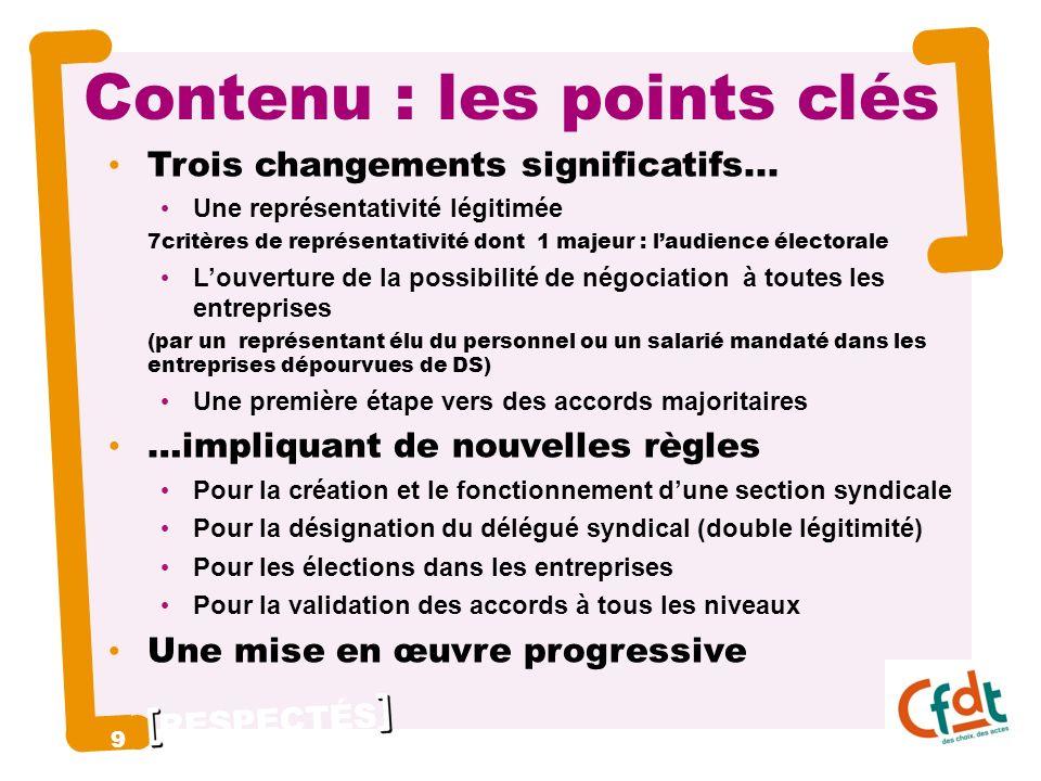 RESPECTÉS Contenu : les points clés Trois changements significatifs...