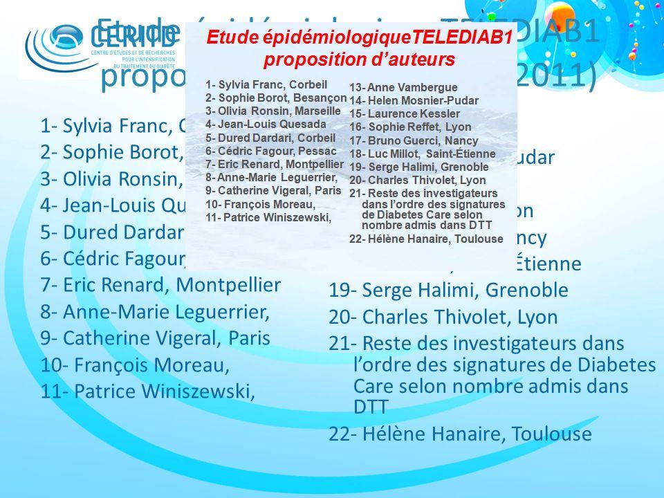 Etude épidémiologiqueTELEDIAB1 proposition dauteurs (SFD, 2011) 1- Sylvia Franc, Corbeil 2- Sophie Borot, Besançon 3- Olivia Ronsin, Marseille 4- Jean