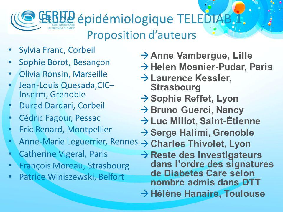 Etude épidémiologique TELEDIAB 1 Proposition dauteurs Sylvia Franc, Corbeil Sophie Borot, Besançon Olivia Ronsin, Marseille Jean-Louis Quesada,CIC– In