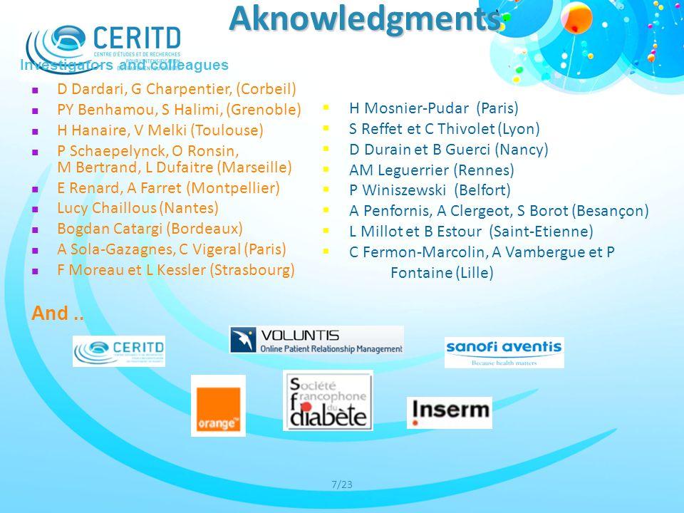 7/23 Aknowledgments H Mosnier-Pudar (Paris) S Reffet et C Thivolet (Lyon) D Durain et B Guerci (Nancy) AM Leguerrier (Rennes) P Winiszewski (Belfort)