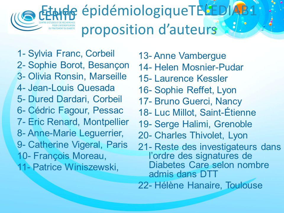 Etude épidémiologiqueTELEDIAB1 proposition dauteurs 1- Sylvia Franc, Corbeil 2- Sophie Borot, Besançon 3- Olivia Ronsin, Marseille 4- Jean-Louis Quesa