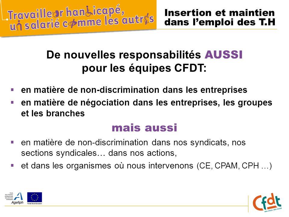 Insertion et maintien dans lemploi des T.H De nouvelles responsabilités AUSSI pour les équipes CFDT: en matière de non-discrimination dans les entrepr