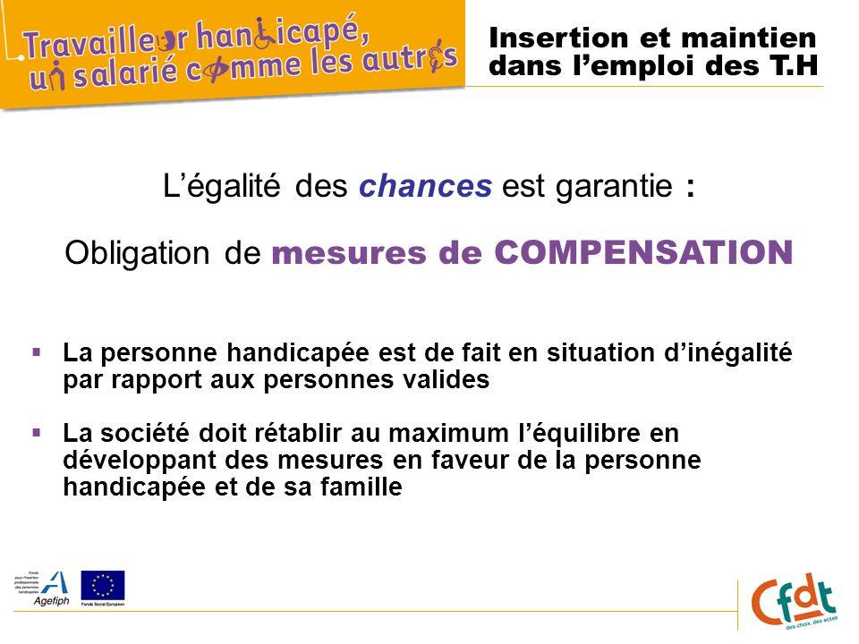 Insertion et maintien dans lemploi des T.H Légalité des chances est garantie : Obligation de mesures de COMPENSATION La personne handicapée est de fai