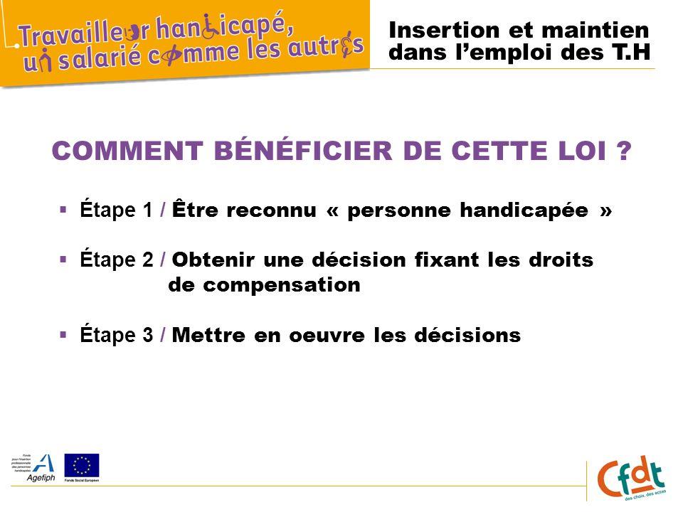 Insertion et maintien dans lemploi des T.H COMMENT BÉNÉFICIER DE CETTE LOI .